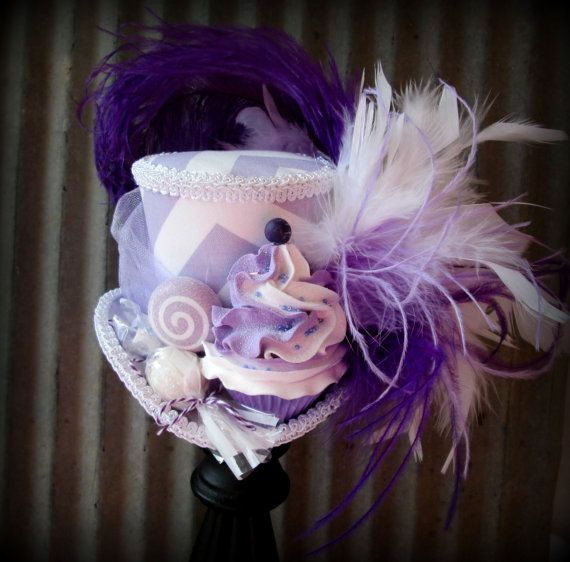 Purple Swirl Chevron Cupcake Mini Top Hat, Mad hatter Hat, Alice in Wonderland Hat, Tea Party Hat, Candy Land Mini Hat, Kentucky Derby Hat