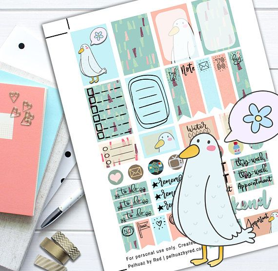 Mine Seagull Theme Planner Weekly Sticker Kit Happy Planner