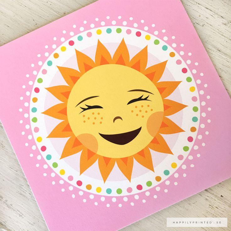 Barntavla med glad sol och färgglad kant. Lyser upp i barnrummet. Väggdekor för barn