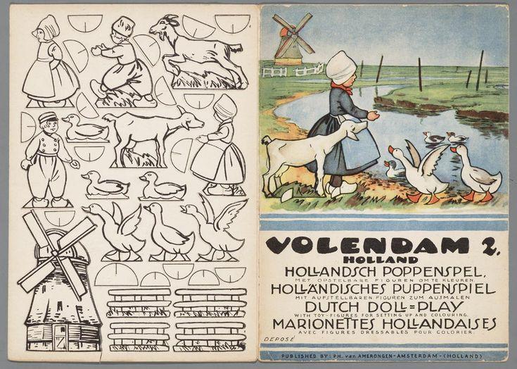 Bouwplaat van een papierentheater voorstellende verschillende figuren en attributen. 1930-1960 #NoordHolland #Volendam