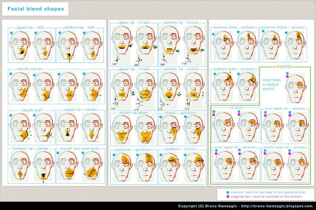 facial blend shapes image guide.