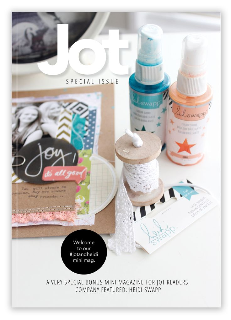 Heidi Swapp has been incredibly generous and always supportive of us here at Jot and we love her to bits. Recently Heidi and her family have had a rough time and we wanted to create something as a team that thanked and showed Heidi how much we care and how we have been keeping her and her family in our thoughts and prayers.  Now this little bundle of loveliness is a collection of papery projects from the Jot Girls showcasing Heidi's products. And its a little beauty! ~Kim + the Jot Girls