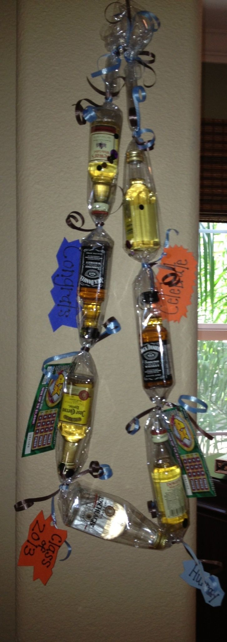 Mini liquor bottle lei! Great for graduations or 21st birthday gifts! Materials: 7 mini liquor bottles Cellophane Confetti Ribbon Lotto Scratchers Personalized notes