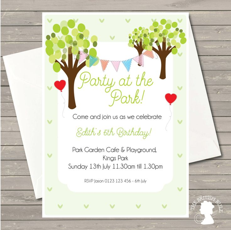 Custom Printable Party at the Park Birthday Invitation Digital Invite by TheBritishRule on Etsy https://www.etsy.com/listing/195426453/custom-printable-party-at-the-park