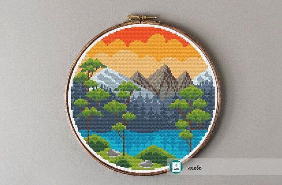 Embroidery Starter Kit with Flower Pattern DIY Cross Stitch Kit 16.5cm Hoop