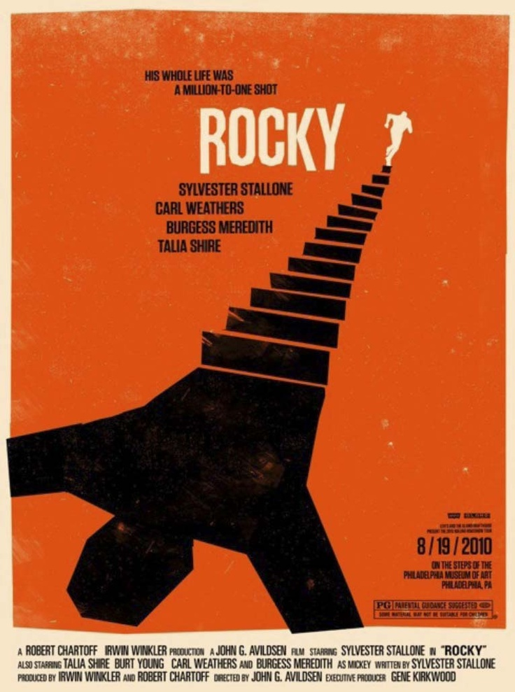 This reminds me a lot of Saul Bass designs. Using ambiguity with stairs as a person, and a directional line drawing attention to the title and main character.