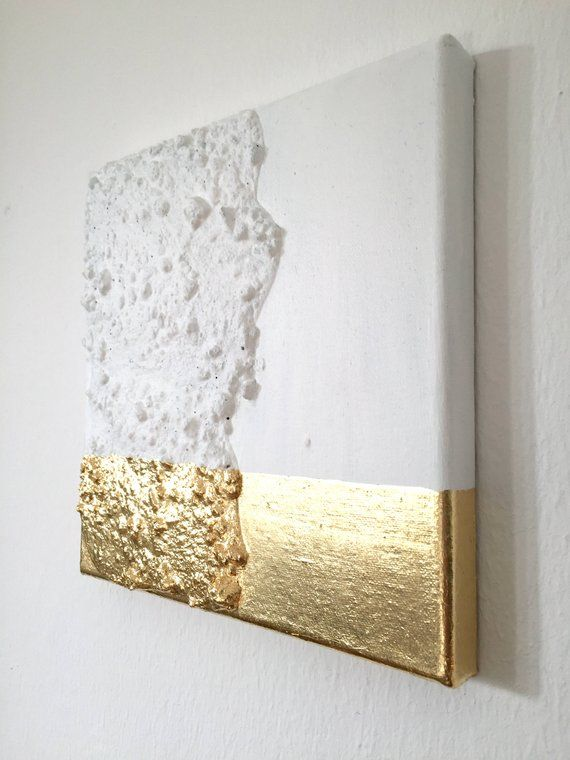 Modern contemporary gold white painting on canvas G19