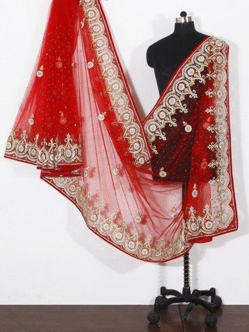 Red Net Saree with Sequins Work