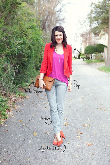 ❤: Red Blazers, Everyday Fashion, Blazers Outfit, Colors Mixed, Outfit Colors Combos, Kendi Everyday, Grey Jeans, Bright Colours, Bright Colors