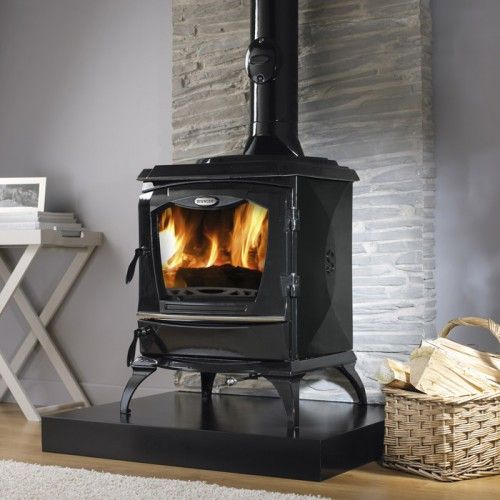 Cara Reginald Stove. Cracking great heat, beautiful design and looks excellent matt or enamel.  Single door and gives out heat from all angles.