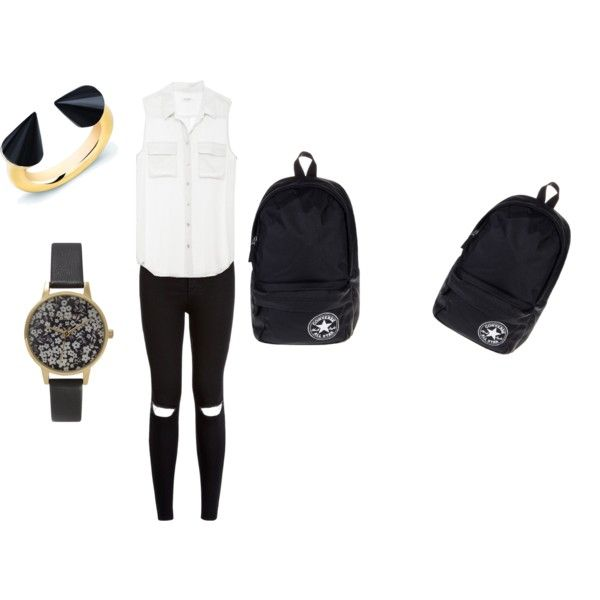school outfit #6 by paty-porutiu on Polyvore featuring polyvore Mode style Equipment Converse Vita Fede Olivia Burton