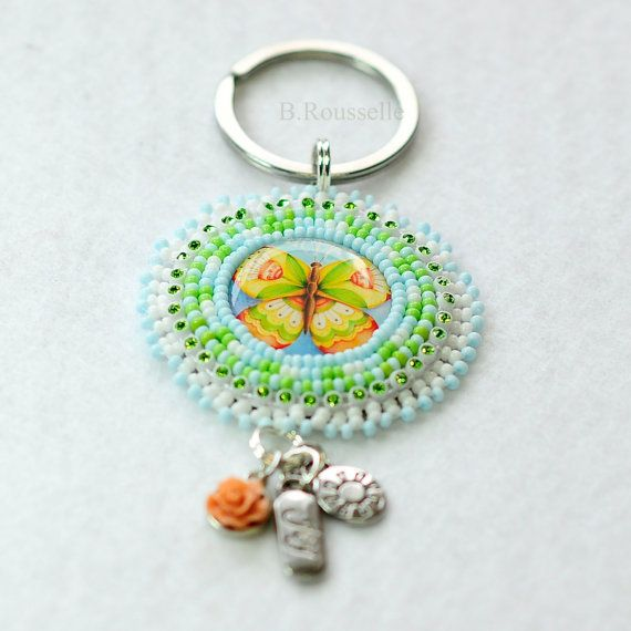 Spring Colours Beaded Butterfly Keychain  by CreativeHands4U