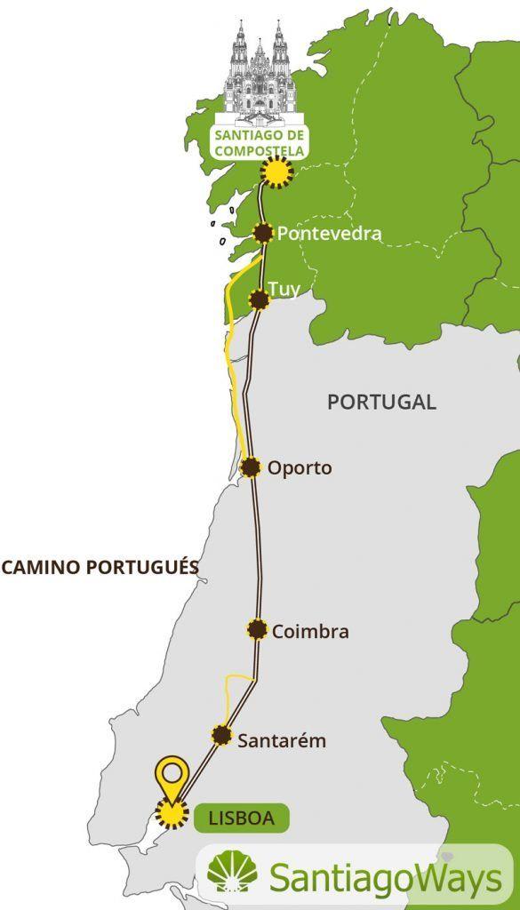 Mapa Camino Portugués Santiago De Compostela Ciudad De Lisboa Mapas