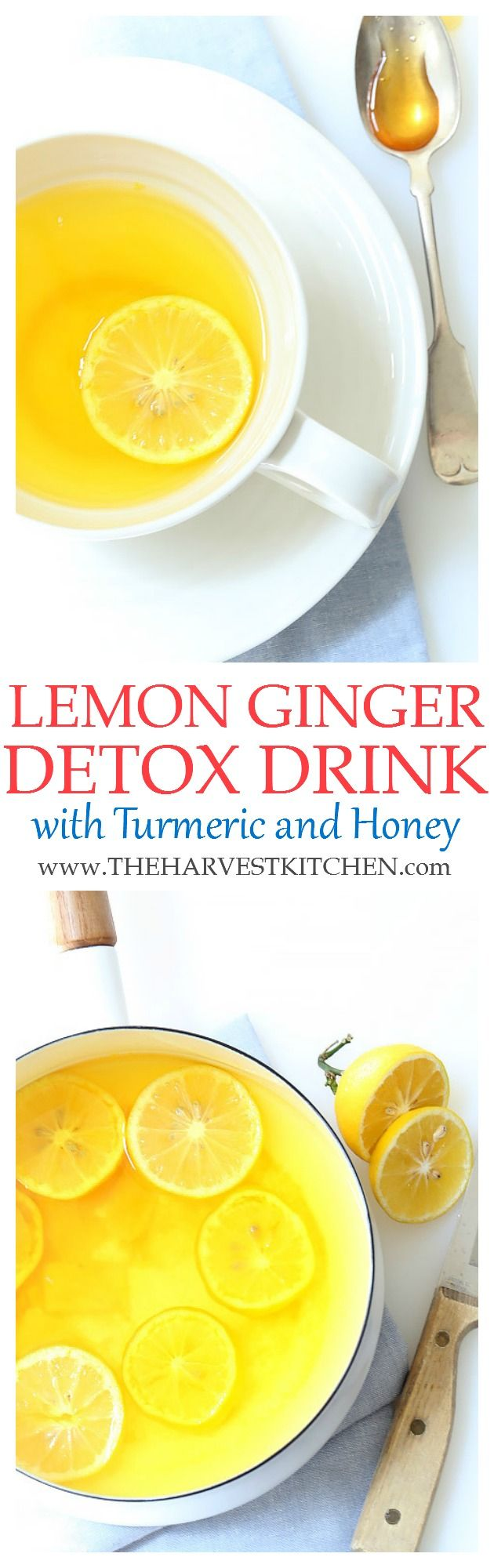 This Lemon Ginger Morning Detox Drink with Turmeric is a great way to start your day.  This detox drink is rich in vitamin c and antioxidants and helps to gently cleanse and alkalize the body.