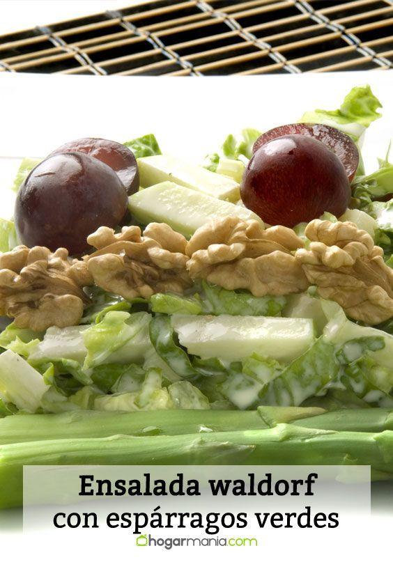 Receta de Ensalada waldorf con espárragos verdes