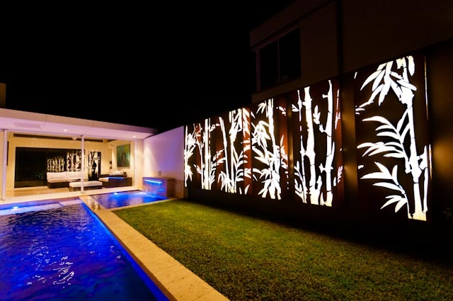 A new artistic way to bring light into the landscape.  Laser cut corten.