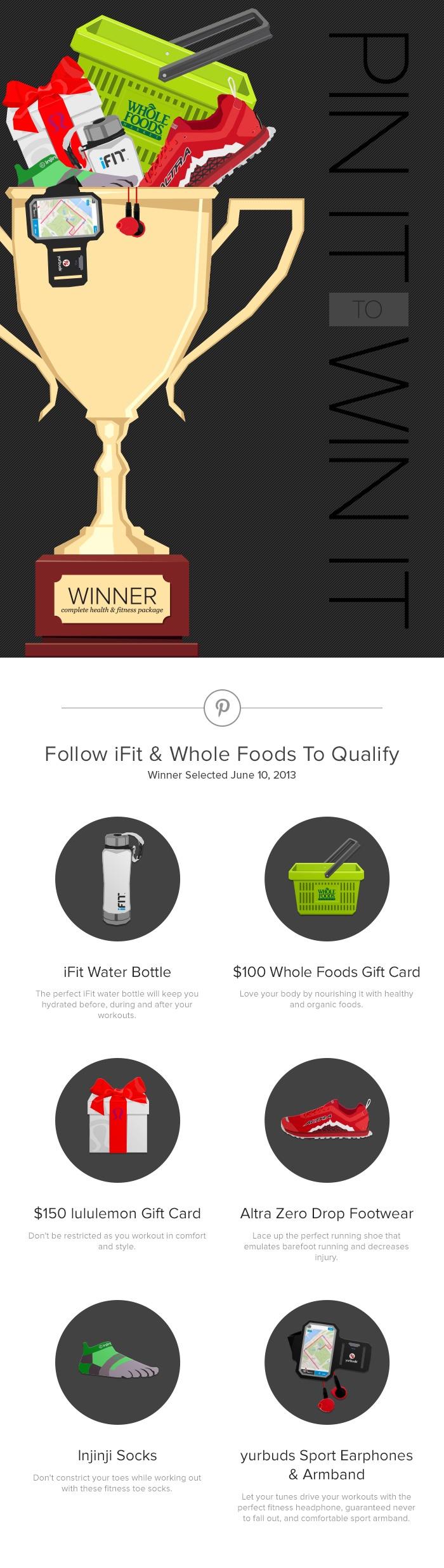 #PinItToWinIt iFit Water bottle, $100 Whole Foods, $150 lululemon, yurbuds headphone + armband, injinji socks, and altra shoes. http://blog.ifit.com/pinittowinit/