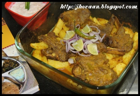 Chaap ne Bataka Roast - Gujarati Roasted Lamb Chops with Potatoes