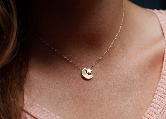 Moon and Star Necklace Gold Moon Star Necklace by MinimalVS, $33.00