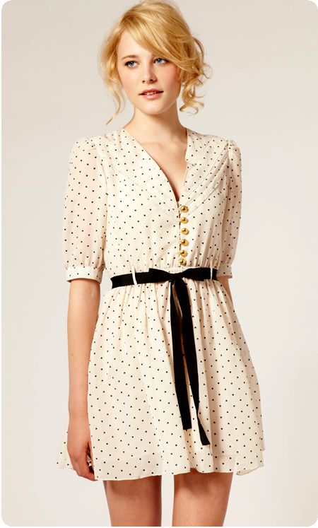 sweet loop over button front dot dress with black sash belt// asos dress.. simply but elegant..