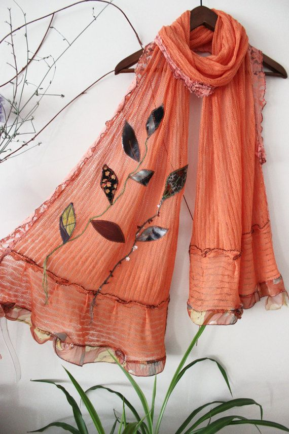 Peach Color Shawl Mercerized knitted shawls Handmade knitted