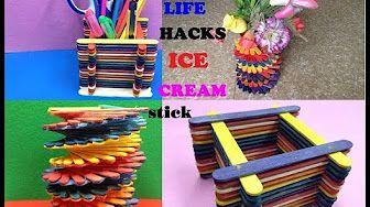 5 Creative Life Hacks using Popsicle Sticks - YouTube