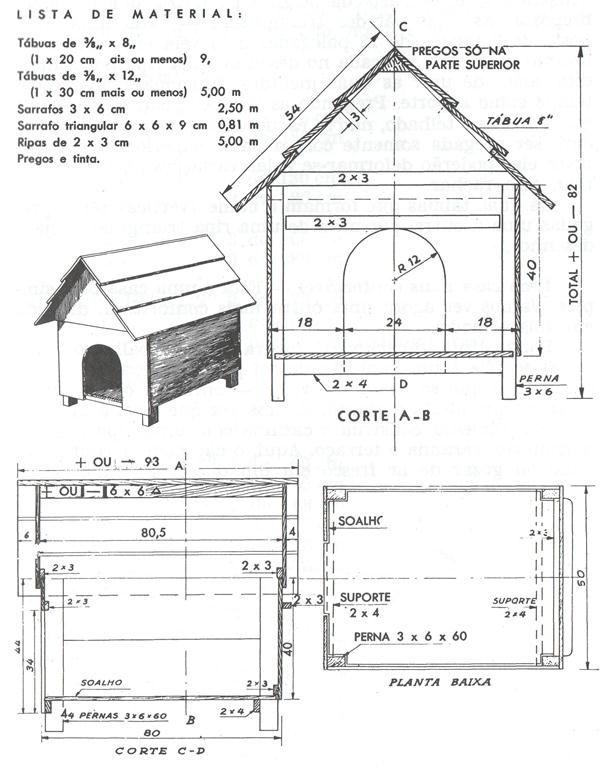 Medidas e esquema para fazer casinha de cachorro de madeira