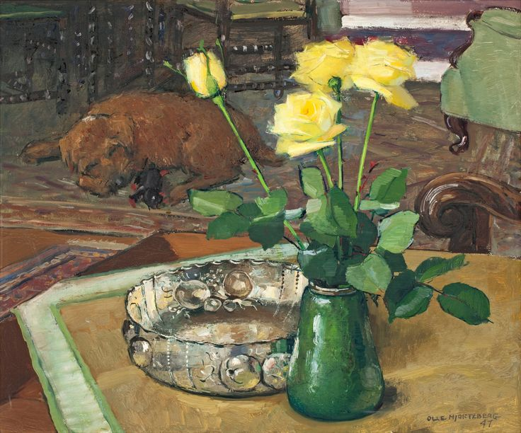 Still Life with Roses and Dog,  Olle Hjortzberg (1872-1959), #art #stilllife #dog