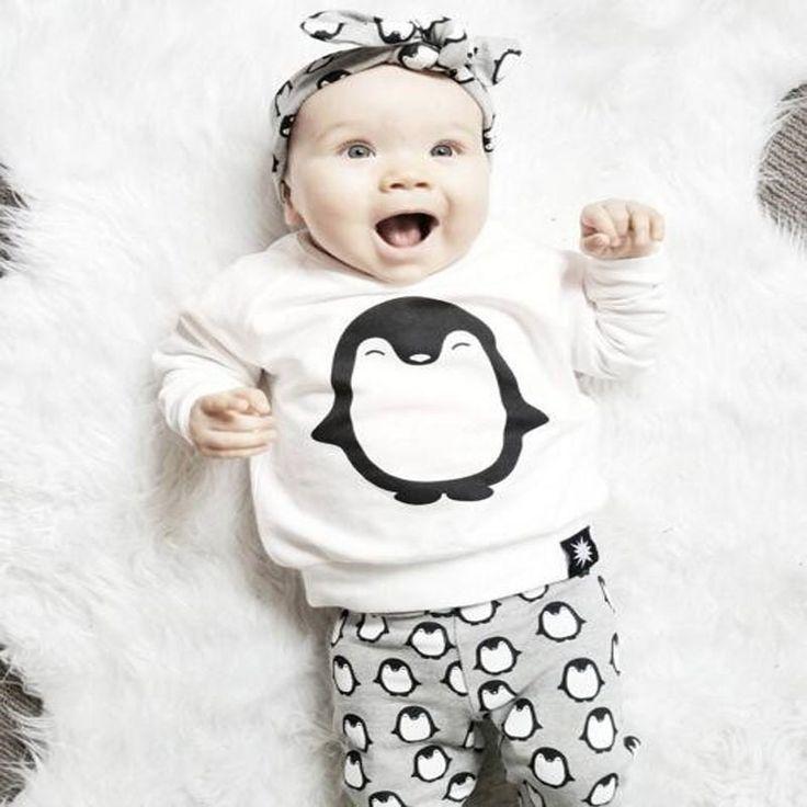 Newborn baby girls clothes Autumn penguin 3pcs kids children boy clothing sets T-Shirt+Pants+Headband  Ins infant clothes