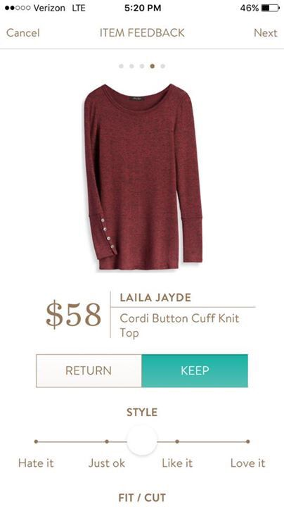 Stitch fix stylist: sometimes you just need a solid color top! I like the buttons on the sleeve! Laila Jade Cordi Button Cuff Knit Top: loving burgundy for fall!