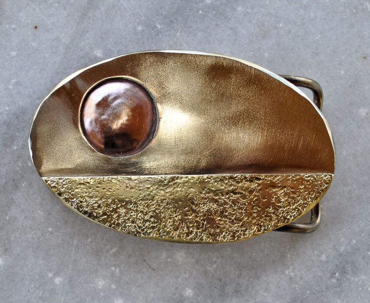"Handmade Casual Belt Buckle ""Sunset 2"" in brass, copper and alpacca by TakisBrass on Etsy"