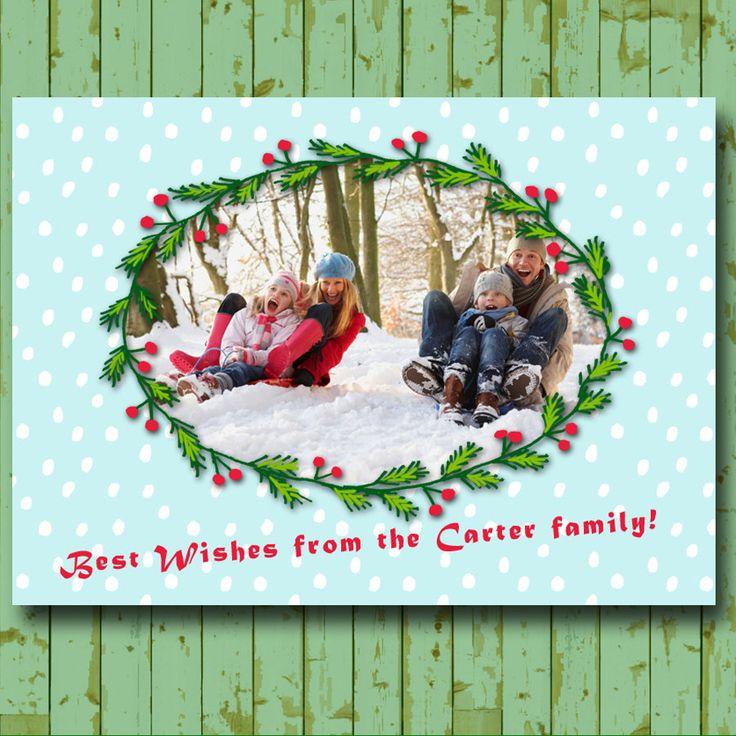 Christmas card with photo, Personalized Christmas Card - Drawn christmas frame - Digital File door shopdadada op Etsy
