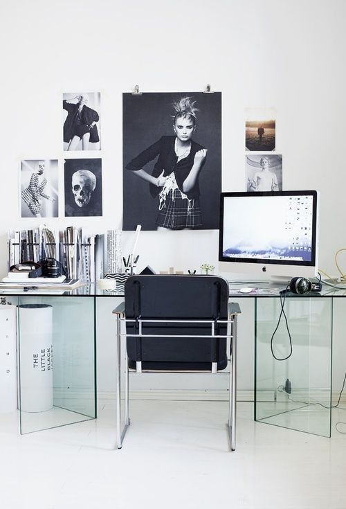 Glass Desk, Posters On The Wall. ♥ Minimalist/transparent Office Design Idea  For Decor And Work Lovers.