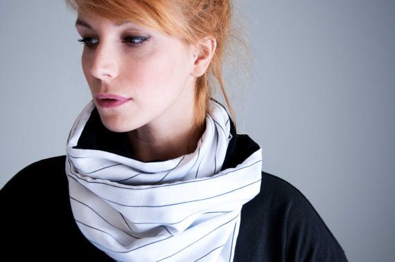 Infinity scarf  soft neck warmer  black & white by clothbotshop