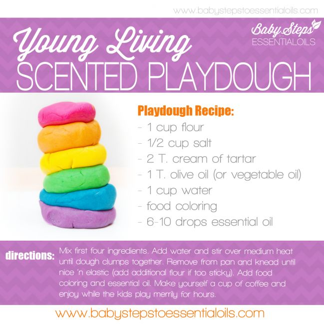 Homemade sensory Play Dough with Young Living Essential Oils. Perfect for keeping your toddler busy when cabin fever sets in. New to essential oils? Start with a Premium Starter Kit you'll recieve 11 amazing oils and a diffuser.