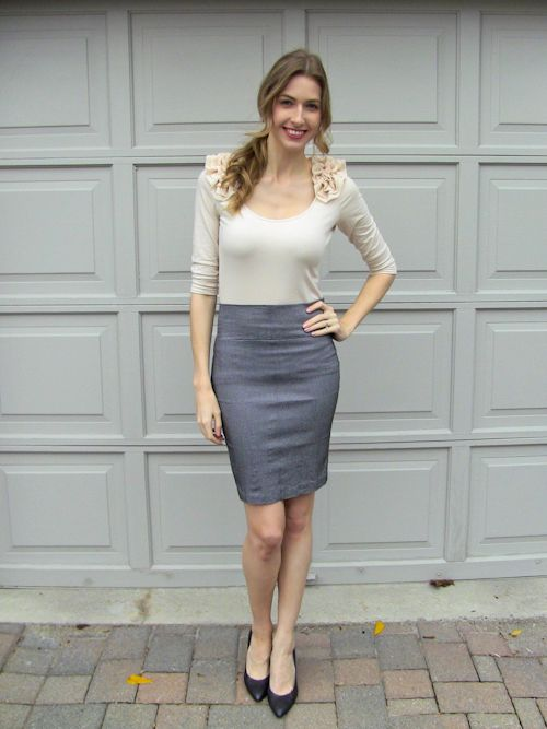 6 Grey Pencil Skirt Outfits   Outlet Value Blog