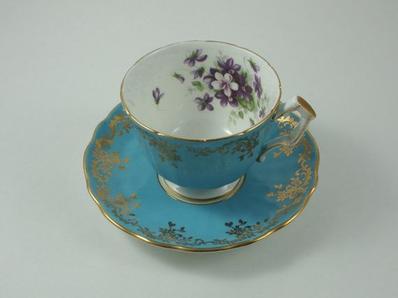 Aynsley Turquoise / Aqua Gold Gilt Footed Tea by SuzquisTreasures