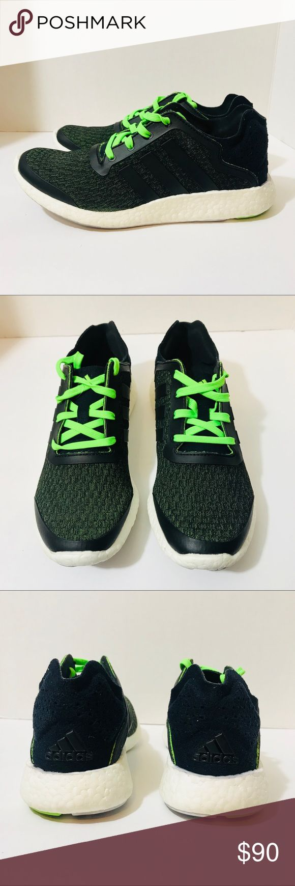 Mens Adidas Pure Boost Green Black Size 8 Mens adidas Pure Boost size 8 green and black in like new condition only worn once for a couple of hours adidas Shoes Sneakers