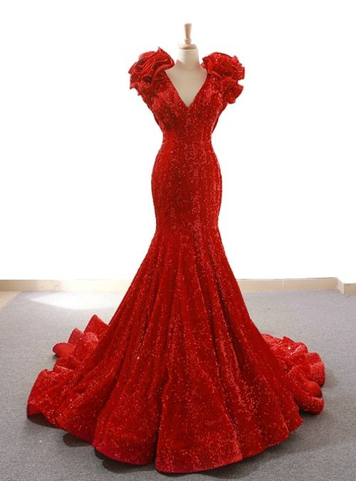 80b3f08819 Red Mermaid Sequins Deep V-neck Prom Dress With Train in 2018 ...
