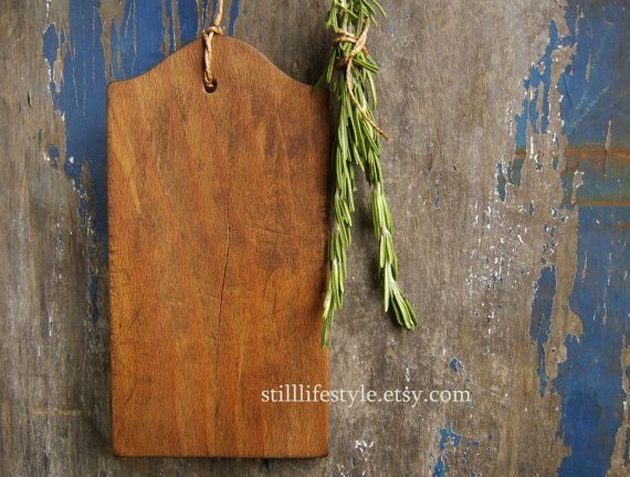 Vintage Herb Cutting Board Tiny Antique French Chopping Board Thin Wooden Mini Prep Board