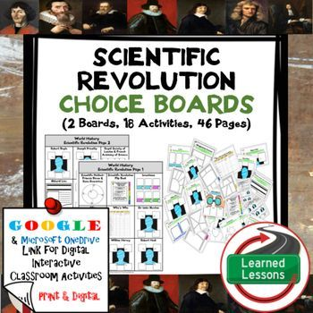 World History Scientific Revolution Choice Board Activities (Paper and Google…