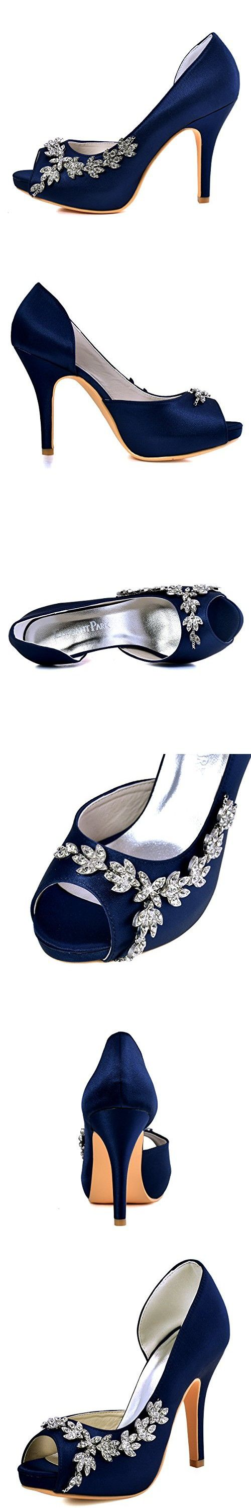ElegantPark HP1560IAC Women's Peep Toe Platform High Heel Rhinestones Satin Wedding Party Dress Shoes Navy Blue US 8