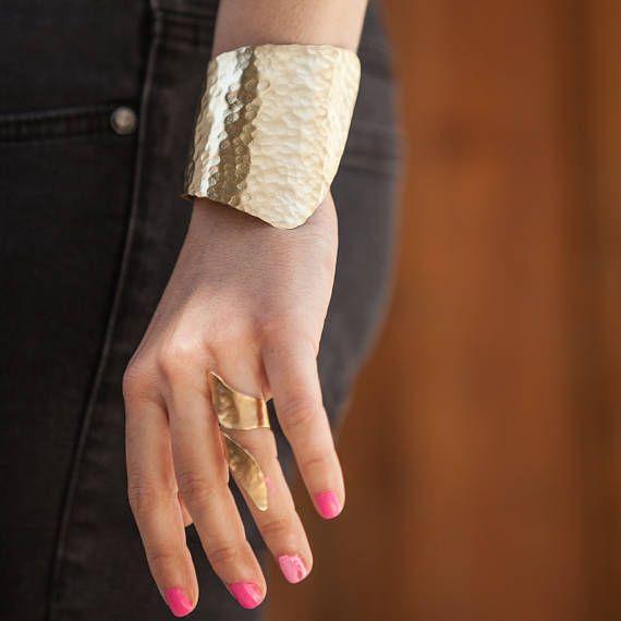 Extra Wide Handmade Hammered Bronze Cuf Bracelet Handcrafted