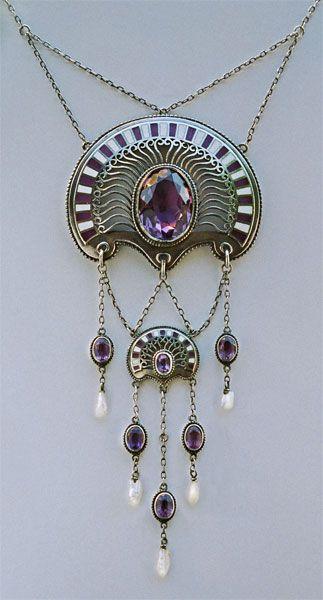 ERICH KLEINHEMPEL 1874-1947 Jugendstil - Art Nouveau  Silver Enamel Amethyst Pearl H: 11.5 cm (4.53 in)  W: 4.75 cm (1.87 in) Marks: 935 Sterling...