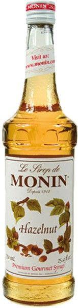 Liten flaske med hasselnøttsirup fra merket Monin - slik som på bildet ser flasken ut, men det kan godt være det står noisette istedetfor Hazelnut - det er ihvertfall helt samme typen og jeg ønsker meg som sagt en liten flaske av den:)  Fås gjerne kjøpt på Herskap&Tjenere på Galleriet, samt gjerne kaféer og kjøkkensaker/ting-butikker