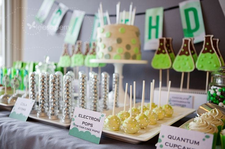 electron pops for a mad science birthday party dessert table