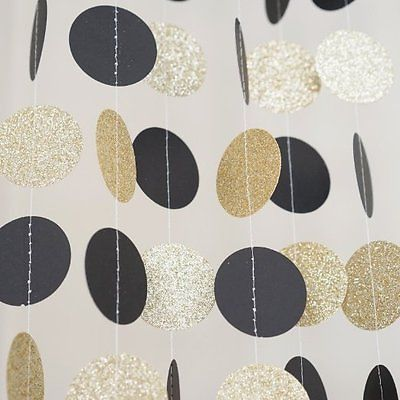 Black and Gold Glitter Circle Polka Dots Paper Garland 10 FT Banner Party Decor