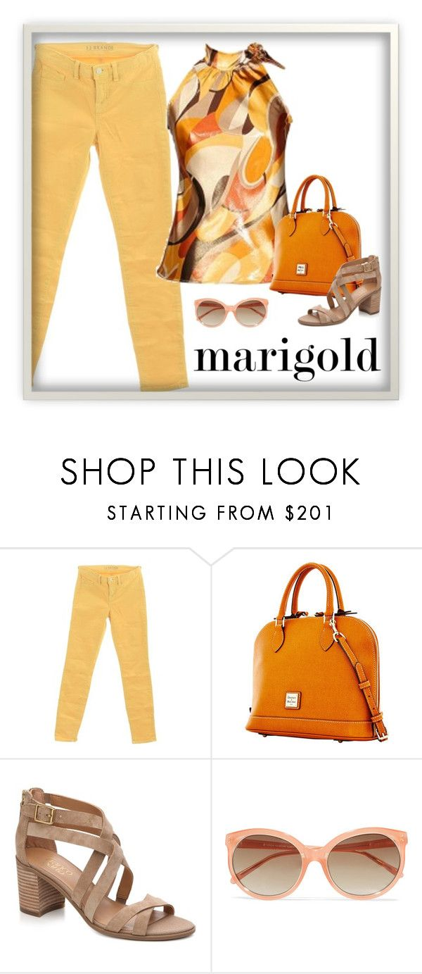"""""""Untitled #5935"""" by patricia-dimmick ❤ liked on Polyvore featuring J Brand, Dooney & Bourke, Linda Farrow, coloredjeans and marigold"""