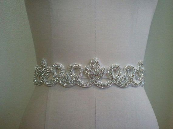 SALE - Wedding Belt, Bridal Belt, Sash Belt, Crystal Rhinestone Sash - Style B70017  Looks like an ivy leaf ;) Custom stuff, maybe toss in there.