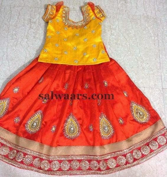 Crystal Skirt with Mustard Blouse  - Indian Dresses